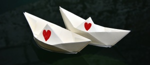 origami, boat, paper, heart, drawn