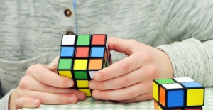 cube, game, logic, hand, toy, colorful