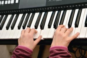 musikk, instrument, elektronikk, teknologi, hånd, barn, clavier