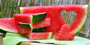 watermelon, vegetable, sweet, heart, decoration