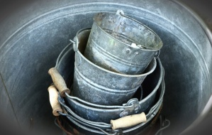bucket, metal, iron, steel, handle, wood