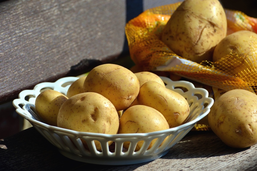 картофеля, овощей, корзина, еда, завод