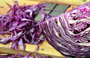 red cabbage, vegetable, food, cut, wood, knife