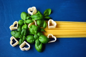 spaghetti, pasta, heart, leaf, spice, food