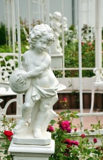 statue, sculpture, boy, rose, flower, garden