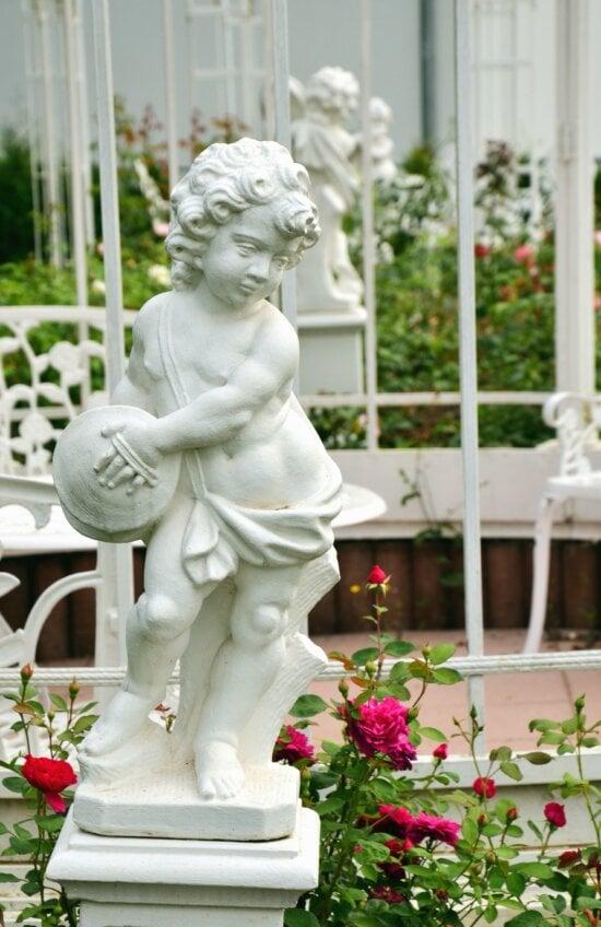 statue, sculpture, boy, rose, flower, garden