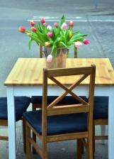 Tulipán, květ, list, stůl, židle, váza