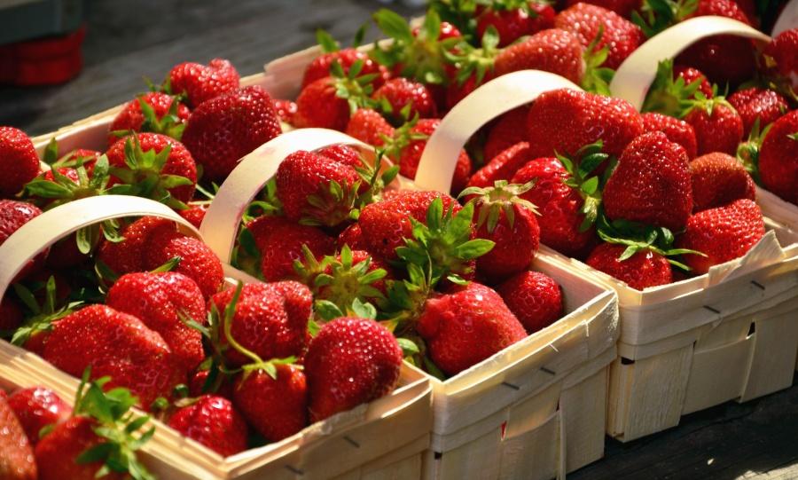 Fresa, fruta, dulce, alimento, caja, tallo, hoja