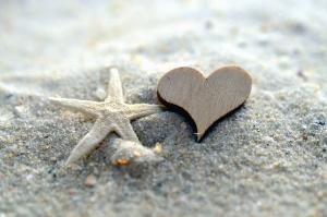 srdce, hviezda, piesok, more, zrno, láska