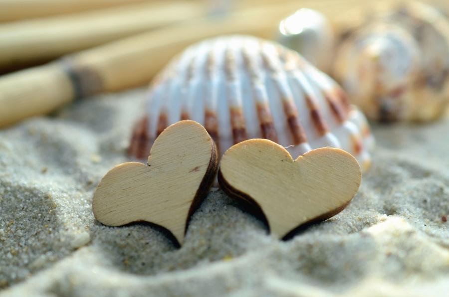 heart, seashell, sand, decoration, romantic