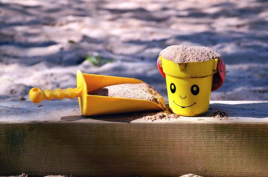 Seau, pelle, sable, jouets, jeu