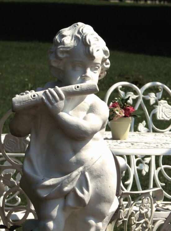sculpture, art, child, flute, statue