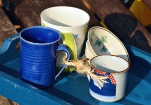 cup, metal, ceramic, saucer, rope
