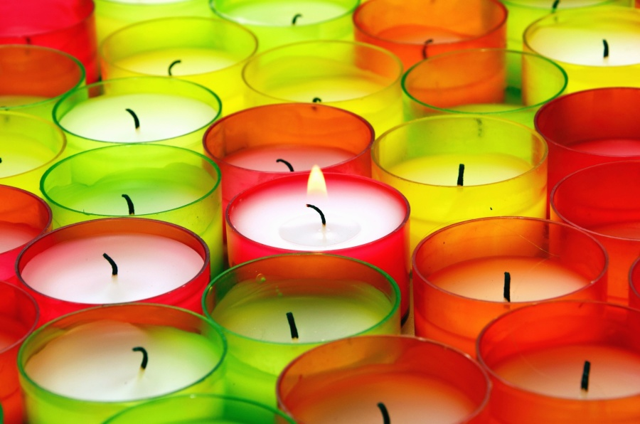 candle, wax, flame, color, colorful