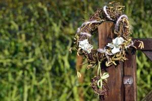 花輪、ドア、フェンス、植物、装飾は、木材