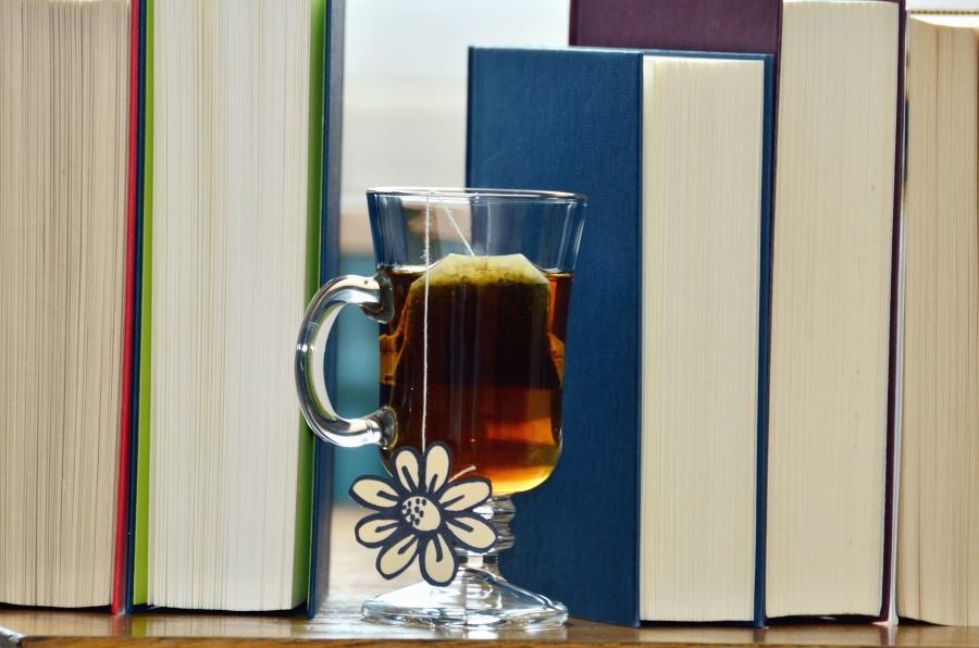 book, bookshelf, drink, beverage, tea