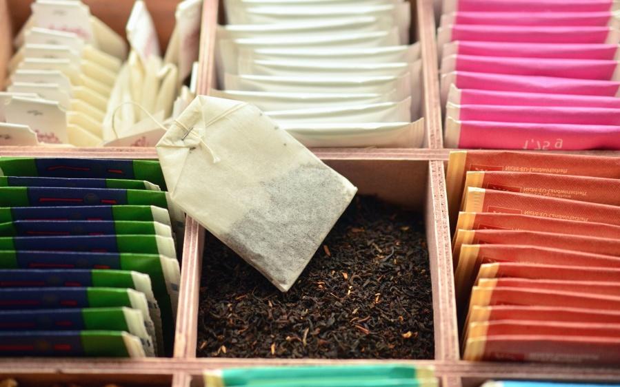 Bebida, caliente, té, caja, planta, papel, filtro, bolsa