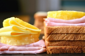 sandwich, cheese, bread, ham, food, breakfast