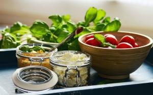 queijo, folha, comida, almoço, cozinha, tomate, vegetal, jar, mostarda