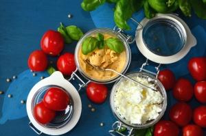 tomaat, groente, jar, mosterd, kaas, blad, eten, lunch, keuken