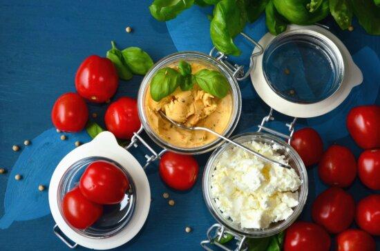 tomato, vegetable, jar, mustard, cheese, leaf, food, lunch, kitchen