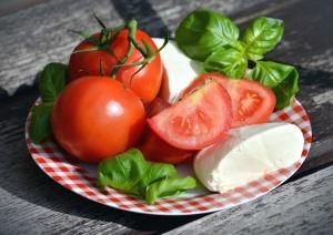Tomate, fromage, nourriture, régime, petit-déjeuner