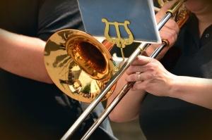 trumpet, brass instrument, music, hand, finger, musician