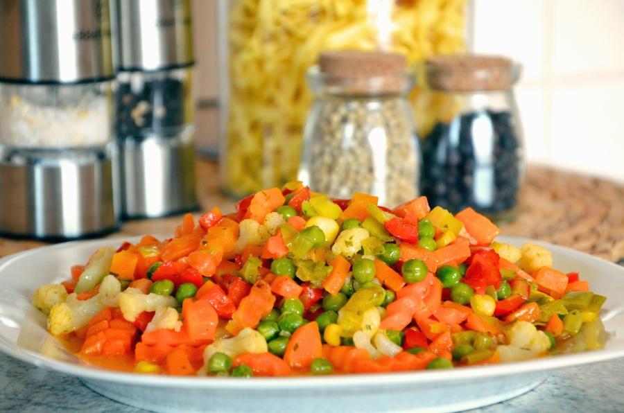 грах, моркови, царевица, зеленчуци, салата, плоча, храна