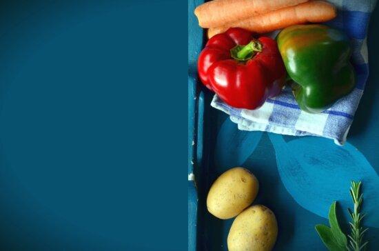 potato, carrot, bell pepper, vegetable, leaf, food