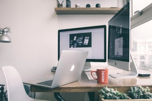 Conception, lieu de travail, bureau, ordinateur portable