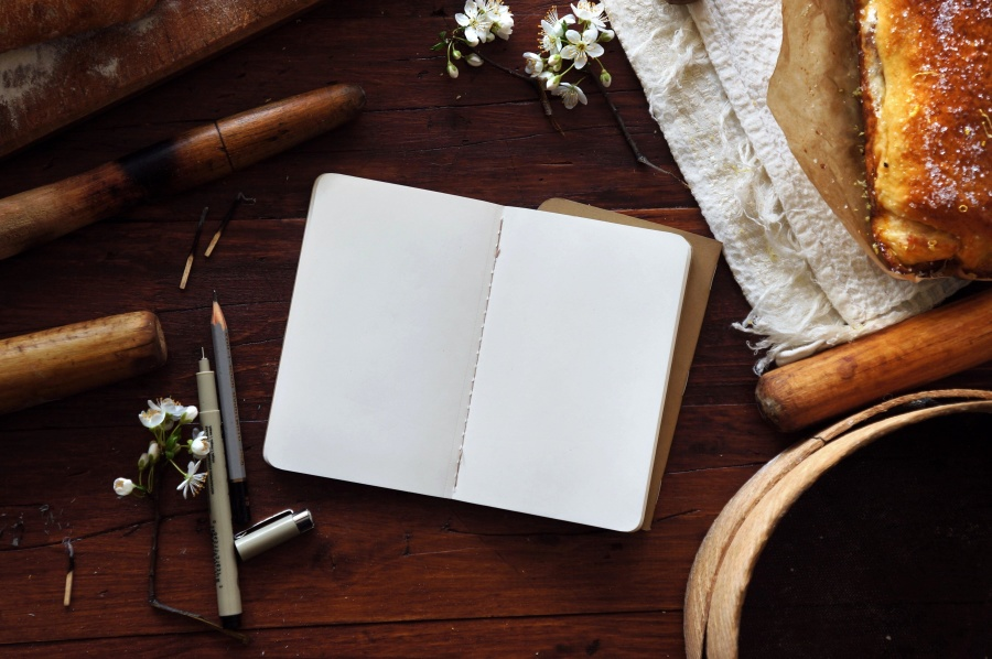 empty, paper, book, table, still life