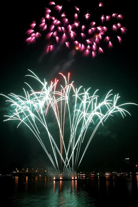 fogos de artifício, noite, comemoração, cidade