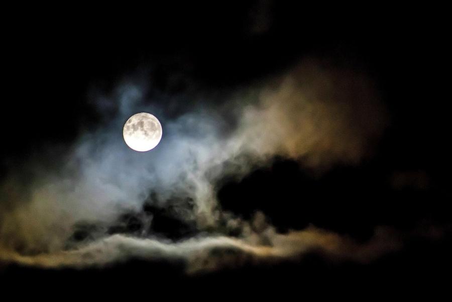 Clair de lune, lune, nuage, nuit