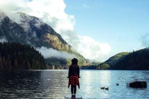 djevojka, sumraka, lijepa, jezero, silueta, krajolik