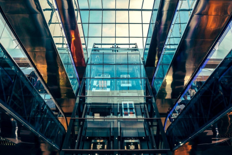sklo, budovy, interiér, moderný, architektúra