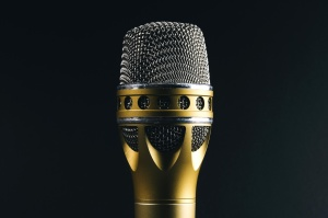 gold, microphone