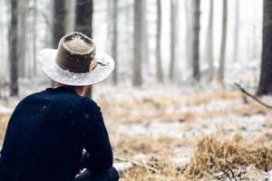 Laki-laki, topi, hutan, musim dingin