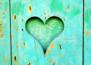 srdce, zelená, dveře