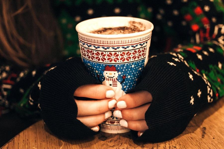 hot, chocolate, drink, hand, woman