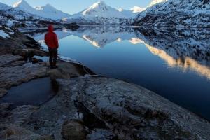 tó, személy, téli, hideg, a fagy, hegyi