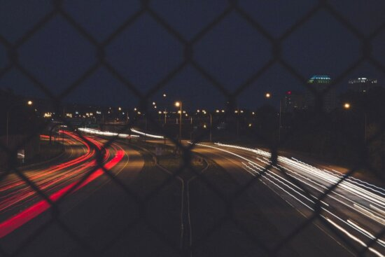 lights, road, night, fence, town