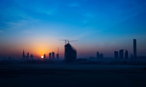misty, morning, city, panorama, sky, sunset, architecture, environment, silhouette