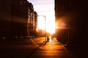 morning, street, town, sunrays