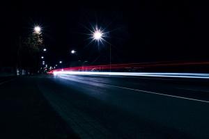 Notte, città, luci, strada, autostrada, asfalto