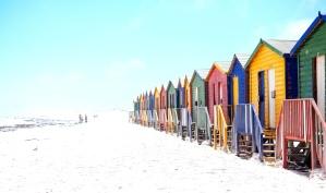 Calle, exterior, colorido, casa, cielo azul