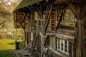 Stari, drveni, kuća, strukturi, eksterijera, građevinski