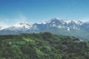 nature, snow, blue sky, landscape, mountain peak