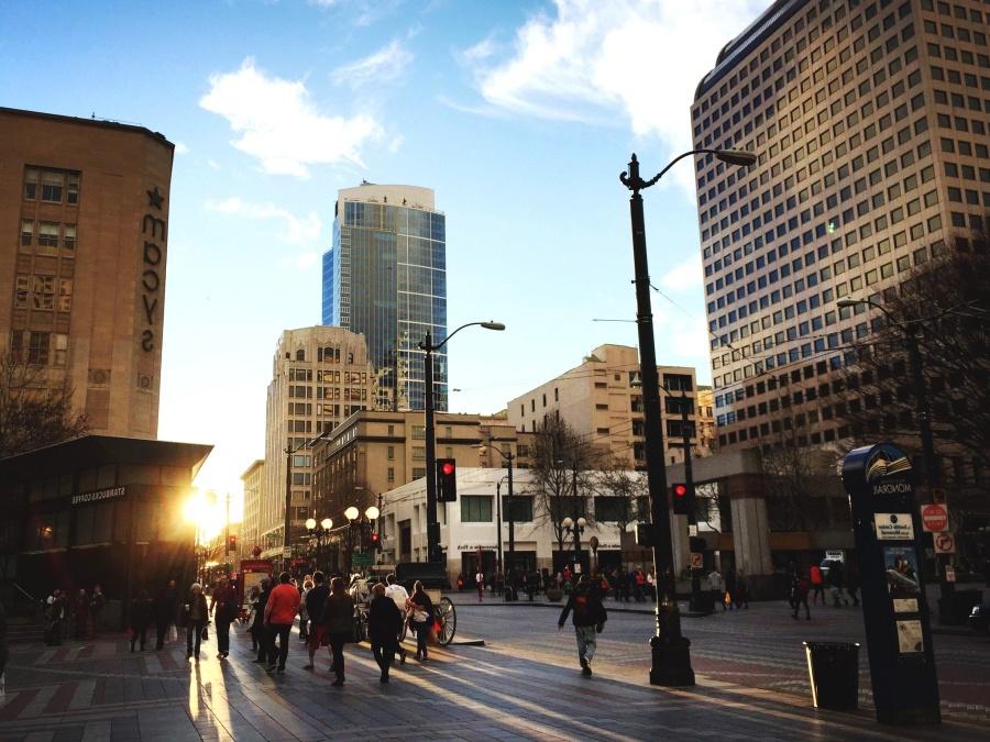 ľudia, ráno, street, dav, mesto