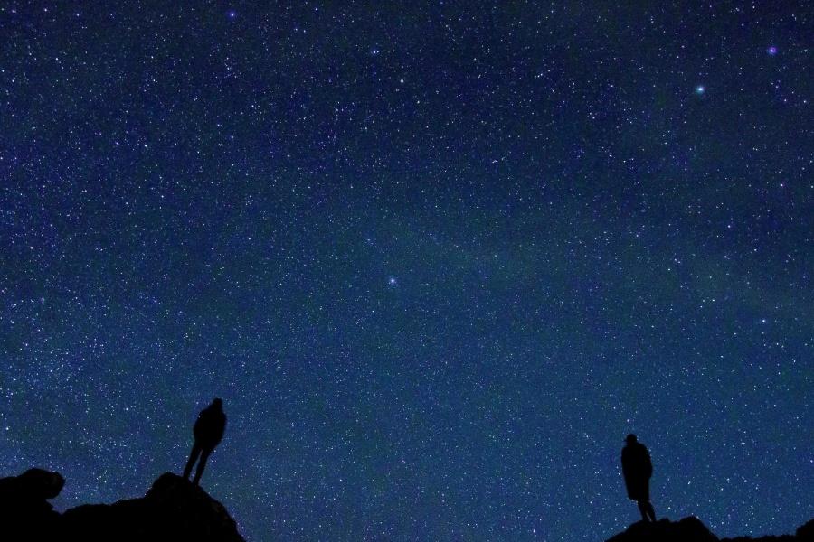 siluetti, tähdet, yö, sky, tumma