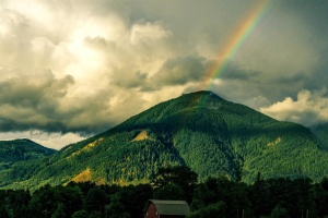 rainbow, over, hill, mountain, landscape, volcano, highland, cloud